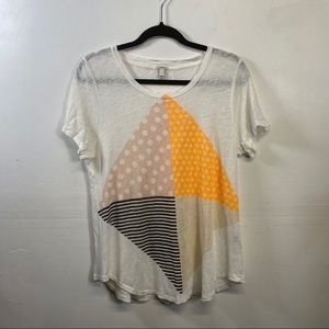 J. crew Linen abstract graphic T-shirt